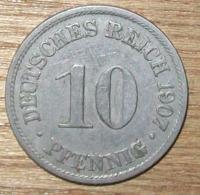 N°11 MONNAIE ALLEMANDE 10 PFENNIG 1907A - 10 Pfennig