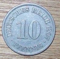 N°12 MONNAIE ALLEMANDE 10 PFENNIG 1907A - 10 Pfennig