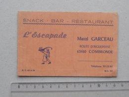 """COMBRONDE (63): Carte De Visite Ancienne SNACK BAR RESTAURANT """"L'ESCAPADE"""" - Route D'AIGUEPERSE GARCEAU Grillade - Cartes De Visite"""