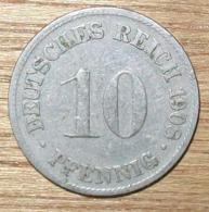 N°15 MONNAIE ALLEMANDE 10 PFENNIG 1908D - 10 Pfennig
