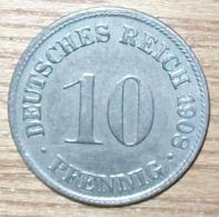 N°16 MONNAIE ALLEMANDE 10 PFENNIG 1908D - 10 Pfennig