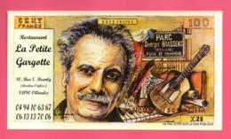 Billet Fantaisie Factice De 100 Francs Publicitaire Restaurant La Petite Gargotte Georges Brassens - Specimen