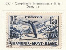 PIA - FRA - 1937 : Campionati Mondiali Di Sci A Chamonix  - (Yv 334) - Sci