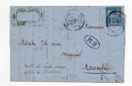 !!! ALGERIE, LETTRE DE SOUK AHRAS AVEC CACHET PERLE DE DUVIVIER DE 1877 ET CACHET BOITE MOBILE. AVEC TEXTE - Entiers Postaux