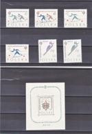 POLOGNE 1962 SPORTS D'HIVER Yvert 1157-1162 + BF 31 NEUF** MNH - 1944-.... Republic