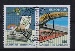 GREECE STAMPS EUROPA 1988(HORIZONTALLY IMPERFORATE)SE-TENANT/FIRST DAY ISSUE POSTMARK-6/5 /88-USED-COMPLETE SET - Europa-CEPT