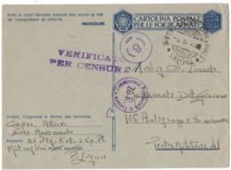 RB132  Italia 1942 - Cartolina Post. Forze Armate,da XV Btg, Mitraglieri X Posta Militare 41 - Storia Postale