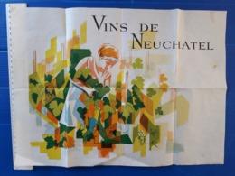 AFFICHE ?  290 X 300 MM. VINS DE NEUCHATEL. - Afiches