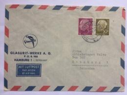 GERMANY Bundespost 1954 Air Mail Cover Hamburg To Goteborg Sweden - `Glasurit Werke` - Lettres & Documents