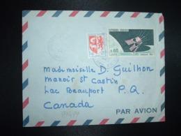 LETTRE Par Avion Pour Le CANADA TP YT 1476 SATELLITE D1 0,60 + AUCH 0,05 OBL.8-3 1967 PARIS XV - Covers & Documents