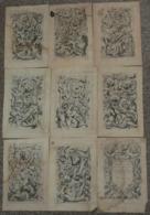 A VOIR Rare Lot De 9 Anciennes Gravures D'ornement, à La Plaque De Cuivre 17e-18e Siècle Putti, Fond Atelier Sculpture - Estampes & Gravures
