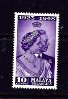 Malaya-Selangor 74 MNH 1948 KGVI Silver Wedding Low Value - Unclassified