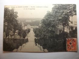Carte Postale Coteaux De Saint Cloud (92) Escalier Conduisant à La Gare Et Vers Longchamp (1908 Timbre 10 Centimes) - Saint Cloud