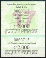 Timbre Fiscal - Stamp Duty - Vignette Automobile Algéria - Taxe 2017 Steuermarke Viñeta Automotive Stempelsteuer - Voitures