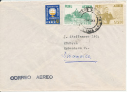 Peru Air Mail Cover Sent To Denmark 4-11-1964 (the Cover Is Bended) - Peru