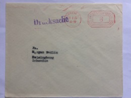GERMANY 1935 Cover With Danzig Meter Mark Drucksache Cachet Sent To Helsingborg Sweden - Lettres & Documents