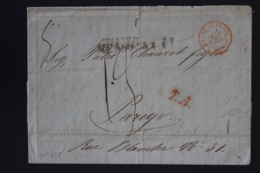 Italy Letter Senigallia Autriche Buro De Bale -> Paris 1847  T.A. In Red RR - 1. ...-1850 Vorphilatelie