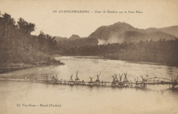 Luang Prabang Laos . Bamboo Bridge . Nam Khan River . Edit Van Xuan Hanoi 1932 - Laos