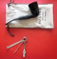 VINTAGE ANCIENNE PIPE DE BRUYÈRE NEUVE-PAUL VIOU  DE SAINT CLAUDE PAYS DE LA PIPE+ ACCESSOIRE  FUMEUR TABAC + POCHETTE - Pipes En Bruyère