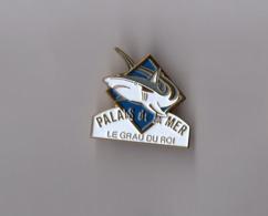 Pin's Restaurant / Le Palais De La Mer - Le Grau Du Roi (requin - Base Doré) Longueur: 3,2 Cm - Autres