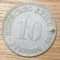 N°37 MONNAIE ALLEMANDE 10 PFENNIG 1908D - 10 Pfennig