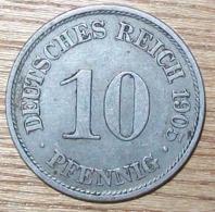 N°39 MONNAIE ALLEMANDE 10 PFENNIG 1905A - 10 Pfennig