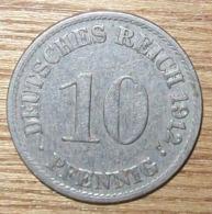 N°40 MONNAIE ALLEMANDE 10 PFENNIG 1912A - 10 Pfennig