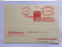 GERMANY 1931 Postkarte With Salach Meter Mark To Apolda `Schachenmayr Nomotta Wolle Mottensicher` - Germany