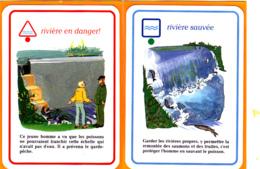 2 Carte De Jeu/ Saumon, Truite, Barrage, Rivière, Ecologie, Garde-pêche - Vieux Papiers