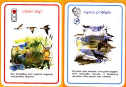 2 Carte De Jeu/ Grêbe Huppée, Bernache Cravant, Bécasseau, Chasseur, Chasse, Ecologie, - Vieux Papiers