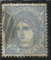 SPAIN ESPAÑA SPAGNA 1870 DUKE DE LA TORRE REGENCY 50m USED USATO OBLITERE' - 1870-72 Reggenza
