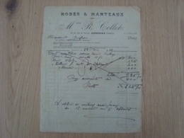 FACTURE MME R. COLLET ROBES & MANTEAUX ANNONAY 1921 - France