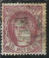 SPAIN ESPAÑA SPAGNA 1870 DUKE DE LA TORRE REGENCY 10m USED USATO OBLITERE' - 1870-72 Reggenza