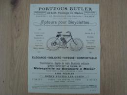 DOCUMENT PUBLICITAIRE PORTEOUS BUTLER MOTEURS POUR BICYCLETTES - Automobile