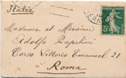LETTRE MIGNONETTE CARTE DE VISITE SEMEUSE 5C BEZIERS HERAULT ROME ITALIE - Postmark Collection (Covers)