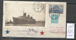 France -Lettre New York Au Havre A - Normandie - 1939 - Postmark Collection (Covers)