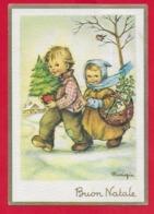 CARTOLINA VG ITALIA - BUON NATALE - Bambini Con Doni Sulla Neve - MARIAPIA - Ediz. RINUP. - 10 X 15 - 1961 TERLIZZI - Christmas