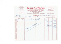 Facture ANGERS - 19 Rue De La Roê - DOIZE - PREYS - Spécialistes Du Pneu Dunlop Michelin Firestone Pirelli - 1959 - Automobile