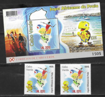 CAPE VERDE, 2019, MNH,AFRICAN GAMES OF PRAIA, VOLLEYBALL, SURFING, FOOTBALL, YACHTS, SHIPS, TURTLES, 2v+S/SHEET - Volleyball