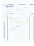 Facture Ets Boutin Frères ANGERS - Concessionnaires SIMCA Ambulance Station-Service - 1955 - Voiture Simca 9 - Automobile