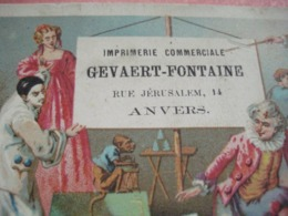 Anno 1875 - 1  Lithochromo  11cmX7cm Pierrot Harlekijn Imprimeur GEVAERT - FONTAINE Antwerpen ANVERS Jerusalemstraat 14 - Calendriers