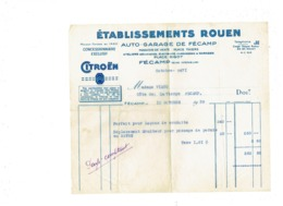 Facture Etablis. ROUEN Auto-garage Fécamp CITROEN Concessionnaire 1939 Forfait Leçons Conduite Passage Permis Au HAVRE - Automobile