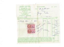 Facture J. GUIHEUX ANGERS - 1957 - Automobile - Timbre Fiscal 1 Franc - Automobile