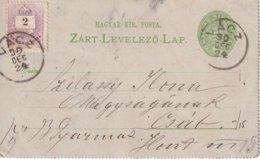 HONGRIE 1890  ENTIER POSTAL/GANZSACHE/POSTAL STATIONERY  CARTE-LETTRE DE VACZ - Entiers Postaux