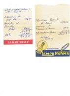Lot 2 - Facture - Automobile - Publicité LAMPE NORMA - LAMPE SULLY -  Ampoule - Automobile