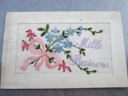 Carte Brodee . Mille Baiser - Embroidered
