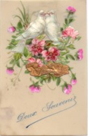CP - Fantasie - Fantaisie - Celluloid Kaart Carte - Bloemen - Fleurs - Duiven Pigeons - Phantasie