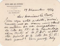 Trouville (N.D. Des Victoires) : Carte écrite Par L'abbé MADELAINE Au Chanoine SIMON, Archiviste Diocésain.(Montreuil En - Autographs