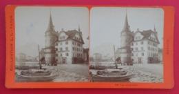 Clichés Stéréoscopiques Albuminés Sur Carton - Suisse - Lucerne - En Ville - Pension Worley - Stereoscopic