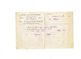 Facture FACTURE Hotel Des Voyageurs P. FOUGERAS Saint-Michel S/Charente 1944 Repas Ouvriers électriciens Cie Sud Ouest - Alimentaire